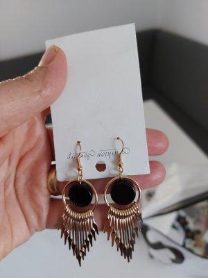 Schöne Ohrringe Schwarz Gold