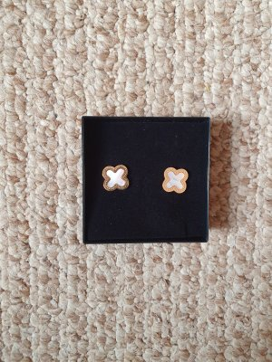 Ear stud white-gold-colored stainless steel