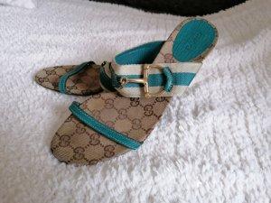 Gucci Sandalo con tacco azzurro-color cammello