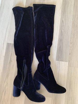 Schöne Overknees, dunkelblau Stiefel