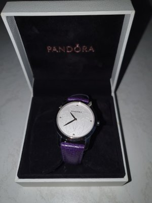 Pandora Watch With Leather Strap silver-colored-dark violet