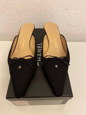 Chanel Heel Pantolettes black leather