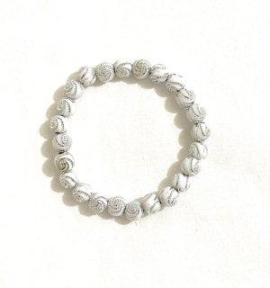 Vintage Bracelet en perles blanc-argenté