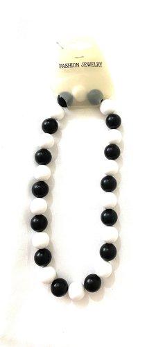 Vintage Naszyjnik z perłami czarny-biały