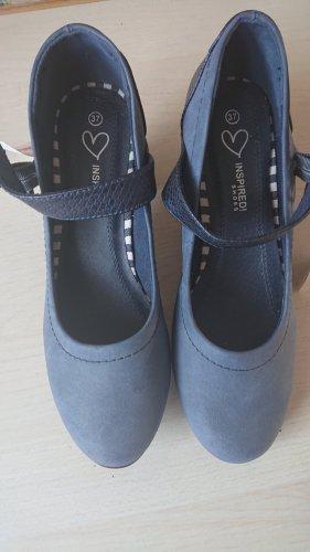 inspiredi shoes Strapped pumps steel blue-cornflower blue