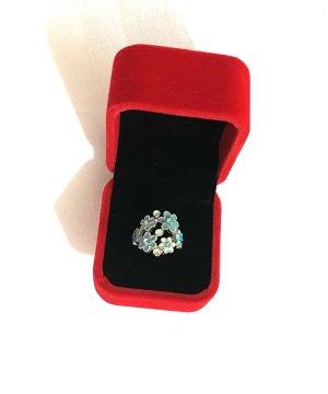 Vintage Zilveren ring zilver-babyblauw