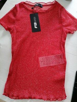 Amisu Top maillé rouge fluo-rouge foncé