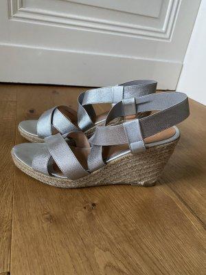 Cox Plateauzool Sandalen met Hoge Hakken zilver-beige