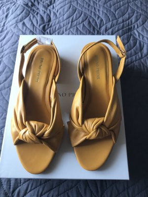 Bruno Premi Strapped High-Heeled Sandals gold orange leather