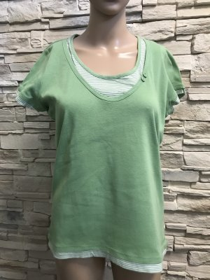 Esprit Boatneck Shirt white-lime-green