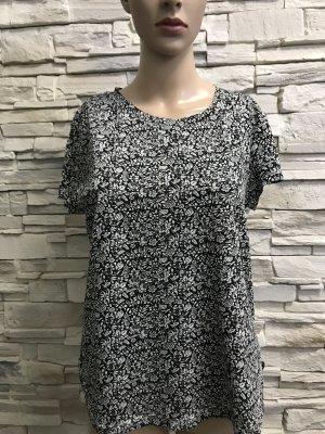 H&M Boatneck Shirt black-white