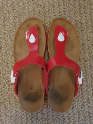 Scholl Sandały japonki z rzemykami czerwony