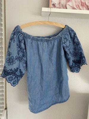 New Look Top bez ramiączek stalowy niebieski-niebieski