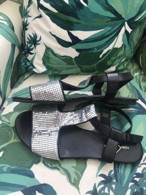 H&M Sandalias de tiras negro-color plata