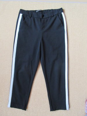 Zara Trafaluc Pantalon chinos noir-blanc viscose