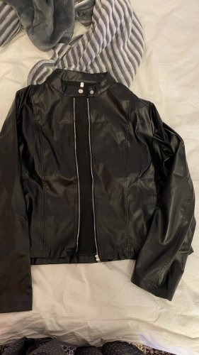 Faux Leather Jacket black-silver-colored