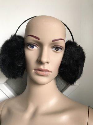 Cache-oreilles noir fourrure artificielle