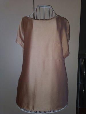 Schöne Shirt Bluse Braun Seide Größe 44-46