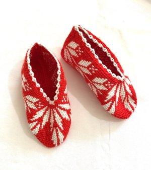 Handmade Gehaakte muts wit-rood