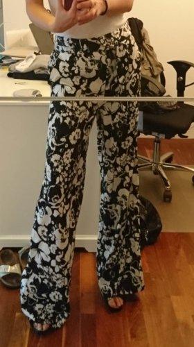 Mango Pantalon Marlene blanc-noir polyester
