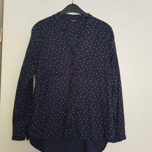 Gina Stand-Up Collar Blouse dark blue-white viscose