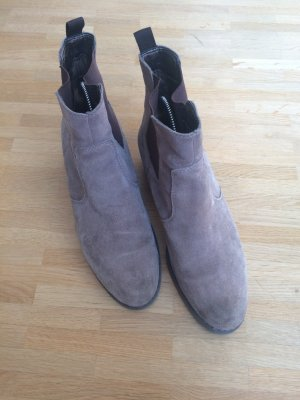 5th Avenue Slip-on Booties grey brown leather