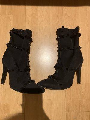 Schöne Stiefeletten gr.37, schwarz Stretch