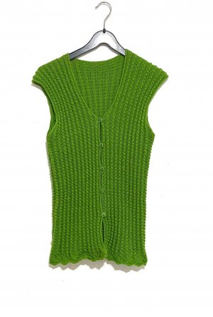 Handmade Knitted Vest grass green