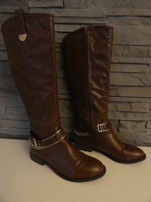 Wide Calf Boots dark brown-brown red imitation leather