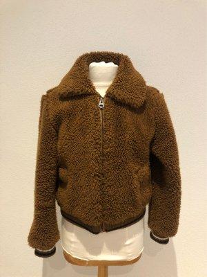 Bershka Fake Fur Jacket brown-black