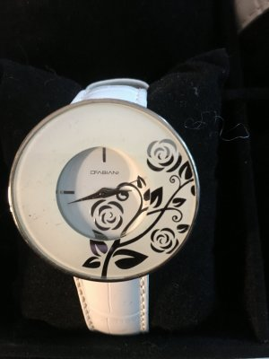 Watch With Leather Strap white stainless steel