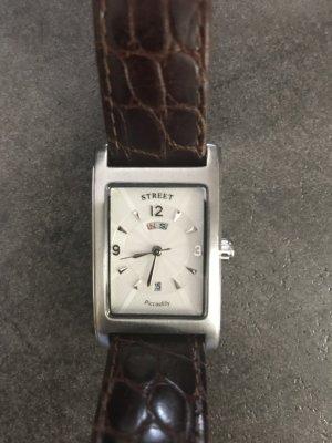 Street Reloj con pulsera de cuero color plata-marrón