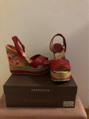 Apepazza Wedge Sandals dark red leather