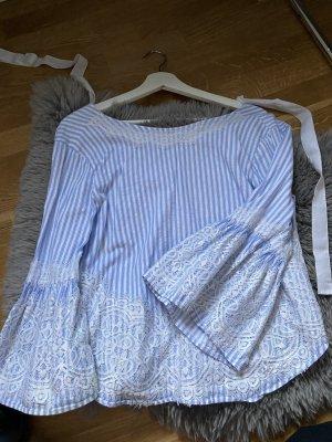 schöne weiß blaue bluse mit spitze von zara