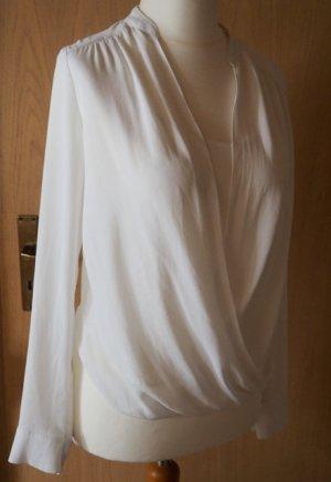 Schöne weiße Bluse mit Wickeleffekt Größe 38