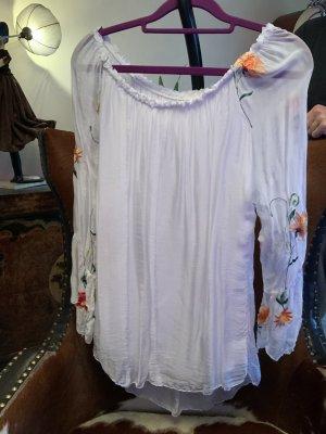 Schöne weiße glänzende Bluse mit transparenten Ärmeln Gr. M/L