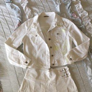 Schöne weiße Jeans Jacke Denim mit neon Pailletten selten Krizia Jeans Boho Festival Hippie