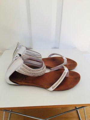 Schöne weiße Leder-Sandalen Größe 39
