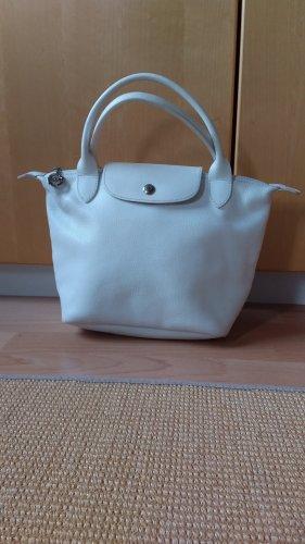 Schöne weiße Lederhandtasche Le Pliage
