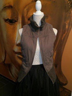 MNG Casual Sportswear Gilet matelassé brun-gris vert