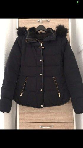Zara Basic Down Jacket dark blue-gold-colored