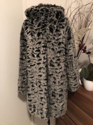 Monki Abrigo de piel gris-negro