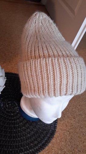 H&M Sombrero de punto blanco puro Acrílico