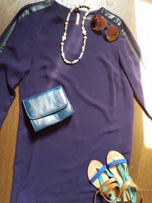 Zara Basic Sukienka tunika fiolet-czarny Poliester