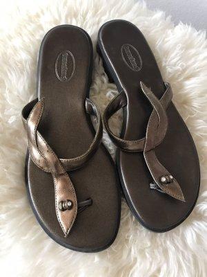 Schöne Zehentrenner-Sandalen * bronzefarben