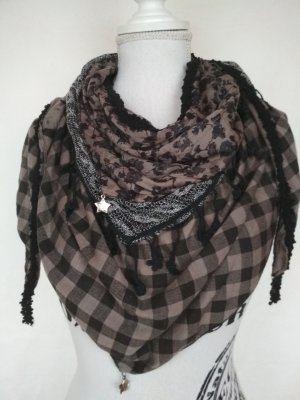 Fringed Scarf anthracite-oatmeal