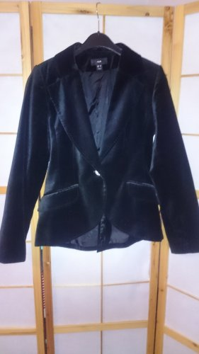 Schöner, angesagter schwarzer Blazer in Samtoptik, toll tailliert