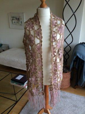 H&M Bufanda de ganchillo rosa empolvado-color oro Lana