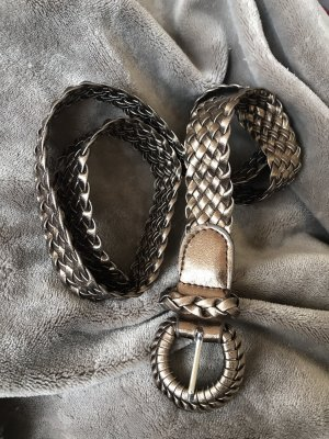 Braided Belt bronze-colored-silver-colored imitation leather