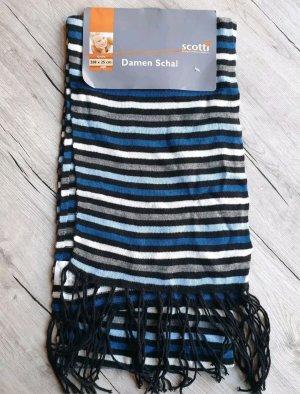 Bufanda de punto negro-azul